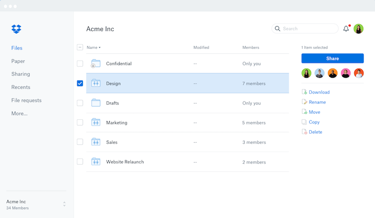 New Dropbox design