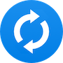 Blue icon with rotating arrows