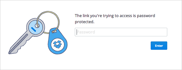 Password protected shared link