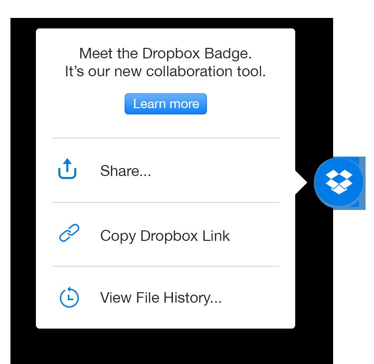 Pilih Salin tautan Dropbox untuk berbagi