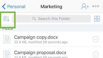 Dateien in der iOS-App sortieren