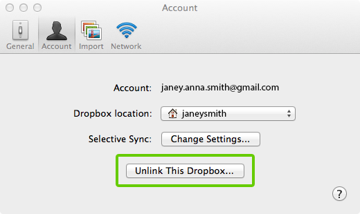 """Die Schaltfläche """"Die Verknüpfung zu dieser Dropbox aufheben"""" in den Dropbox-Einstellungen"""