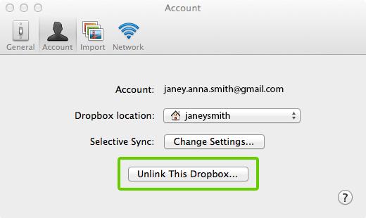 Putuskan tautan tombol Dropbox ini dari preferensi Dropbox