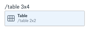 Et eksempel på brug af /-kommandoer til at oprette en tabel.