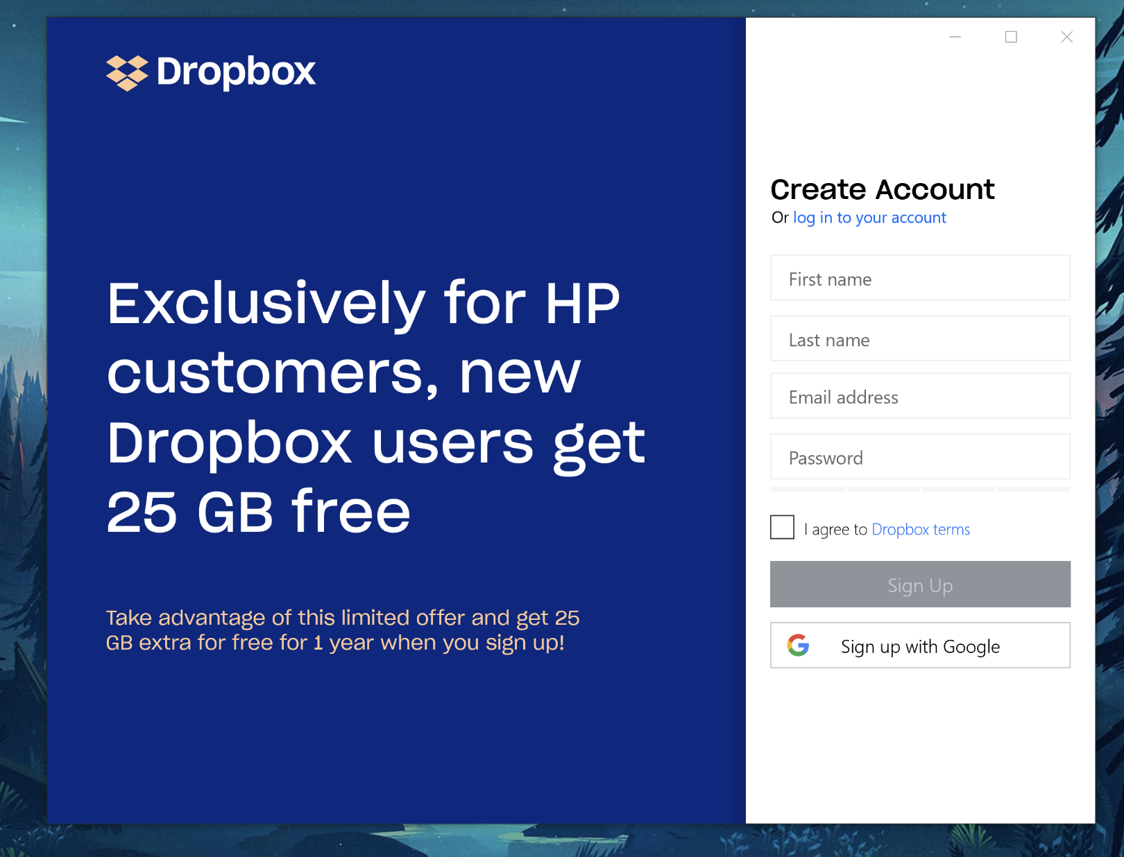 Is my HP device eligible for the Dropbox space promotion