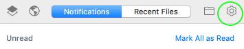 Icona dell'ingranaggio nella barra delle applicazioni di un computer Mac
