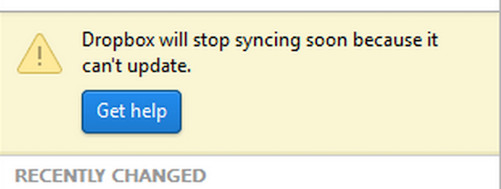Dropbox will stop syncing soon because it can't update
