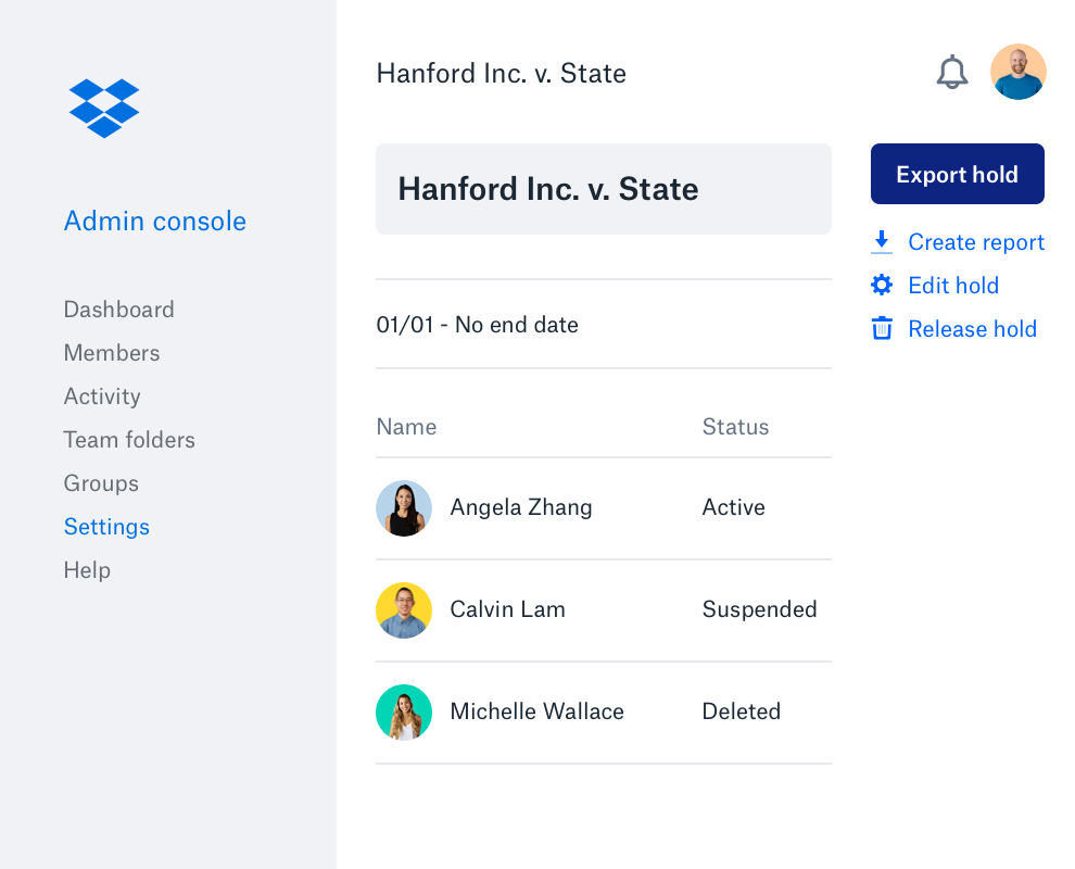 The Dropbox admin console interface with a list of team members, their icons and their account status.