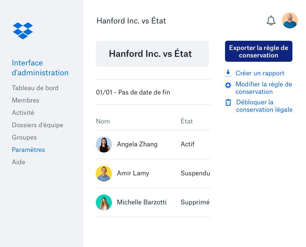 Interface d'administration Dropbox avec liste de membres d'équipe, icônes et état du compte