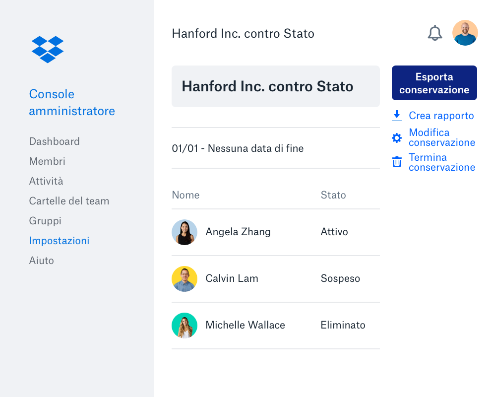 L'interfaccia della console aziendale di Dropbox con un elenco di membri del team, le loro icone e il loro stato dell'account.