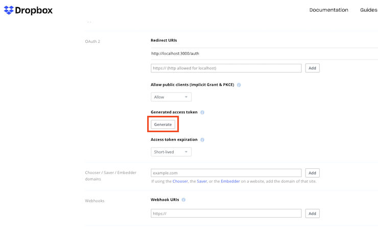 Screenshot of the OAuth 2.0 field in app settings with a Generate button