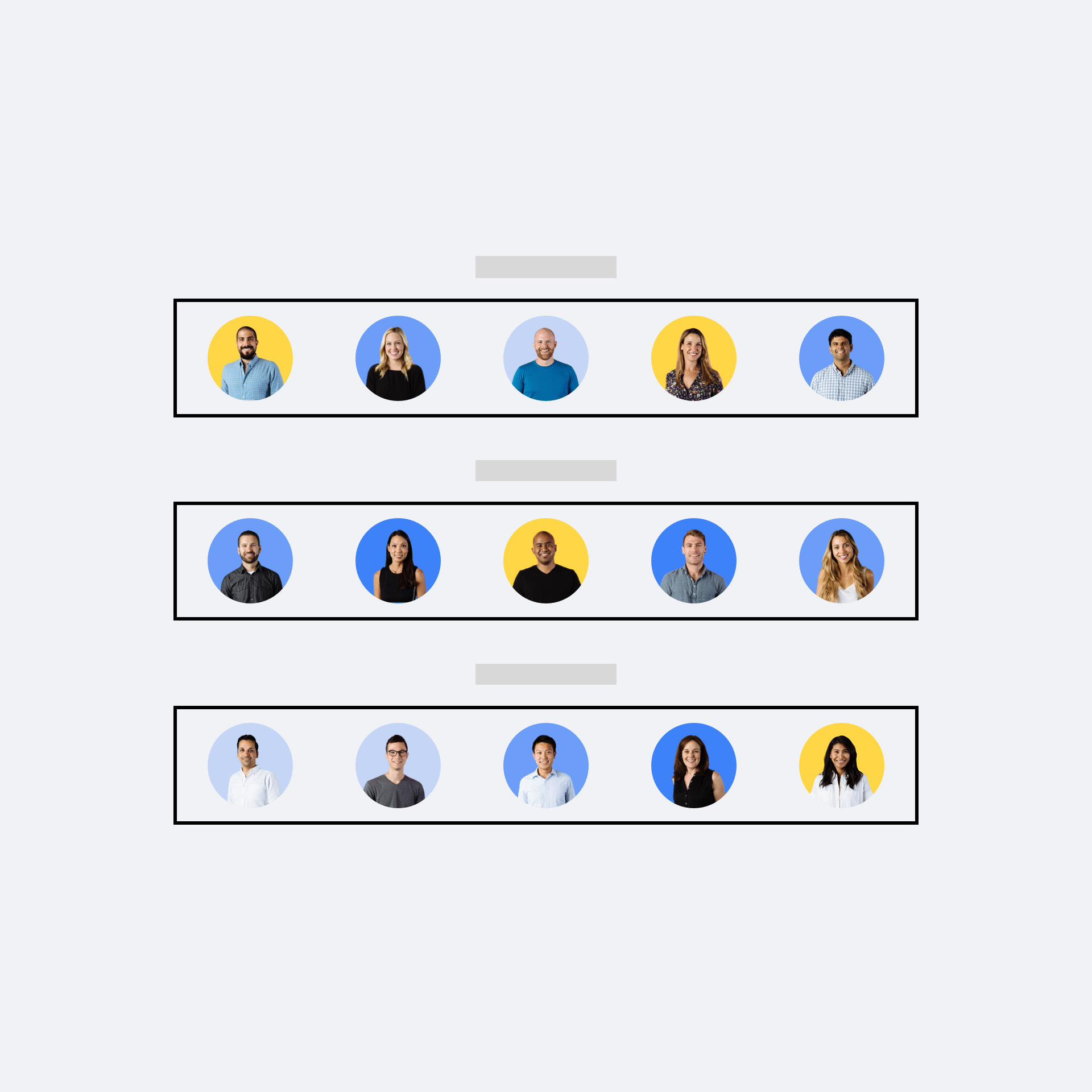 A series of Dropbox user profile pictures