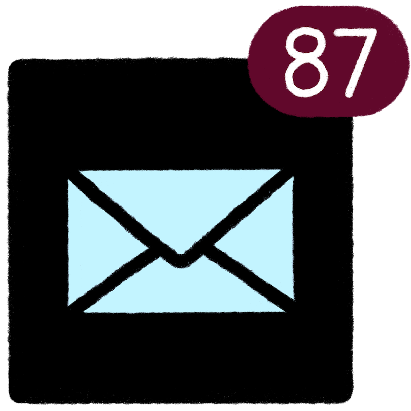 Email app icon displays 87 unread emails